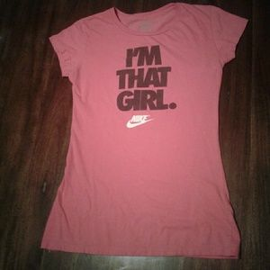 NIKE Women's T-shirt Dark Pink Size Small